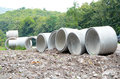 Cement pipes material for road construction Royalty Free Stock Photo