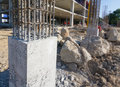 Cement prop in construct site building Royalty Free Stock Photo