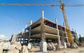 Cement prop in construct site building Stock Image