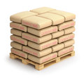 Cement sacks on wooden pallet d illustration Royalty Free Stock Photo