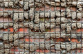 Cement and steel textured cobbled wall background Royalty Free Stock Photo