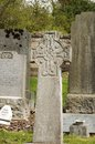 Cemetery celtic cross on a in roslin scotland Royalty Free Stock Photography