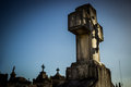 Cemetery cross thomb blue sky Royalty Free Stock Images