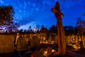 Cemetery deads night at in seredzius lithuania Stock Images