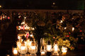 Cemetery graveyards lit by candle lights polish during all saints day celebration Royalty Free Stock Photos