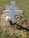 Cemetery: new grave with white cross Royalty Free Stock Photo