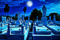 Cemetery at night with Royalty Free Stock Photos