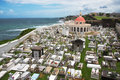 Cemetery of old san juan puerto rico and coast view Stock Photos