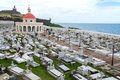 Cemetery of old san juan puerto rico and coast view Stock Image