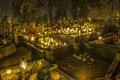 Cemetery in poland on all saints day illuminated with candles Stock Images