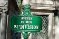 Cemetery row sign at the montparnasse in downtown paris france Royalty Free Stock Image