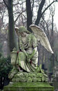 Cemetery sculpture statue of an angel at powazki warsaw poland – the oldest and most famous in the country the is also Royalty Free Stock Photo