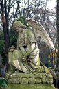 Cemetery sculpture statue of an angel at powazki warsaw poland – the oldest and most famous in the country the is also Royalty Free Stock Images