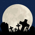 Cemetery spooky halloween with graveyard and moon Stock Image