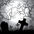 Cemetery spooky halloween with graveyard trees fog and moon Royalty Free Stock Photos