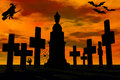 Cemetery in sunset. Royalty Free Stock Images