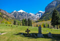 Cemetery a view of and mountains in the autumn season in telluride colorado Stock Photos