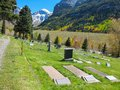 Cemetery a view of and mountains in telluride colorado Royalty Free Stock Photos