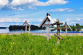 Cemetery with wooden crosses on island Kizhi Royalty Free Stock Images