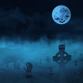 Cemetery with zombies and gravestones halloween background full moon at graveyard Stock Photo