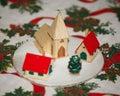 Cena do inverno com a árvore de natal na tabela do natal como um fundo Fotos de Stock Royalty Free
