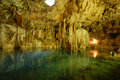 Cenote or subterranean lake. Royalty Free Stock Image