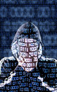Censored hacker with binary codes in background Royalty Free Stock Images