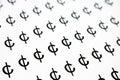 Cent sign money symbol pattern black and white background Stock Image