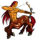 Centaur fantasy creature with bent bow vector illustration Stock Photos