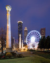 Centennial olympic park in atlanta at night Stock Images