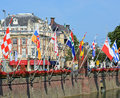 Center of hague netherlands august historical centre near lake hofvijver with flags provinces this is one mostly Royalty Free Stock Image