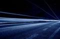 Center-line z abstrakcjonistycznymi błękitny światłami Obrazy Royalty Free