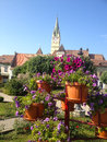 Center of medias city medieval town in transylvania Royalty Free Stock Image