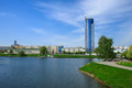 Center of minsk river svisloch in the Royalty Free Stock Photo