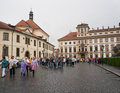Center of prague many people on a rainy day in the czech republic Royalty Free Stock Photo