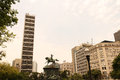 Center of rio de janeiro the praca tiradentes with the estatua equestre d pedro i in the brazil south america Stock Photo
