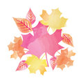 Centered Bright Watercolor Fall Autumn Leaves Vector Illustration 1