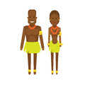Central africa national dress illustration of african couple on white background Royalty Free Stock Photos