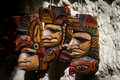Central american masks group of hand made for sale in a local shop in belize Stock Photography