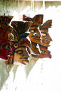 Central american masks group of hand made for sale in a local shop in belize Royalty Free Stock Image