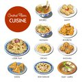 Central Asian food cuisine traditional dishes vector Royalty Free Stock Photo