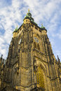 Central clock tower of the cathedral of st vitus in prague on a sunny day Royalty Free Stock Photo