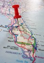 Central florida closeup of a map with a red push pin Royalty Free Stock Images