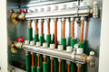 Central heating distributor with valves Stock Image