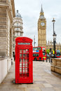 Central london england red phone booth double decker buses and big ben Royalty Free Stock Photography