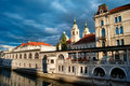 Central market of ljubljana and cathedral with moody sky slovenia Royalty Free Stock Image