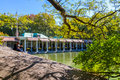 Central park boathouse a couple enjoys the serenity of by the famous Royalty Free Stock Photography