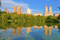 Central park and city skyline new york upper west side manhattan usa Royalty Free Stock Photography