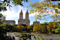 Central park lake in manhattan new york nyc oct rowboats on october the acre is the second largest of s man made water bodies the Stock Image