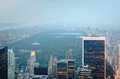 Central park looking north from midtown new york city hazy view manhattan Royalty Free Stock Images